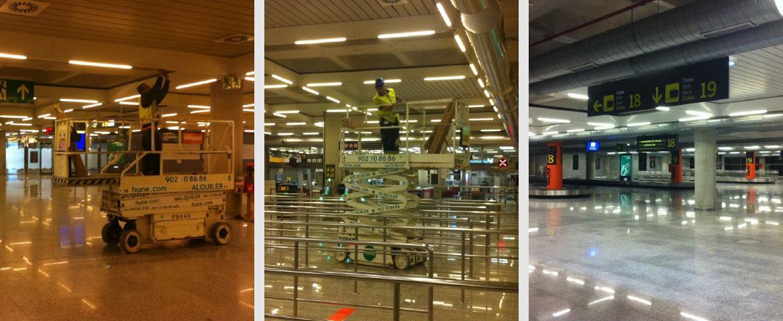 Mejora de iluminación, cambio de 15.000 fluorescentes en el Aeropuerto de Palma de Mallorca